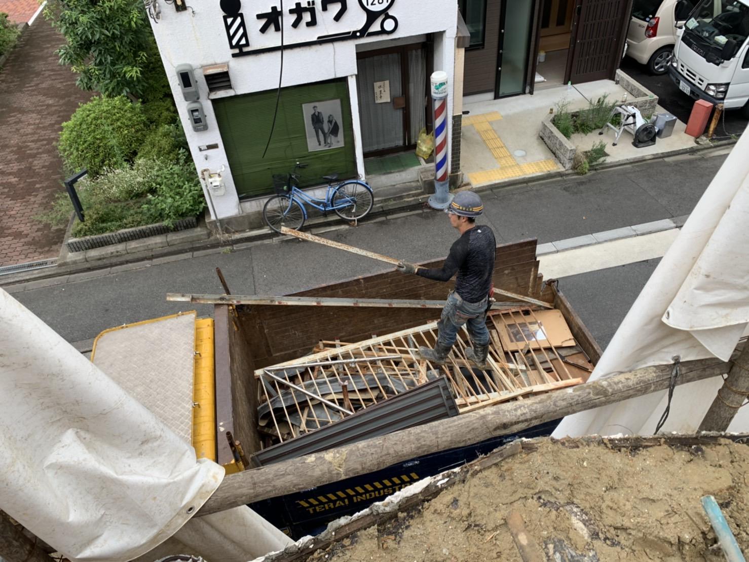 京都市 解体工事 「 南区 東九条 木造2階建 」 DAY3