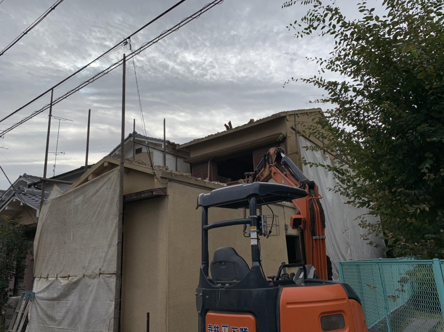 京都府 解体工事 「 向日市森本町 木造2階建 」 DAY2